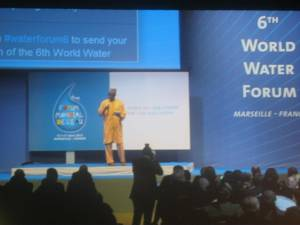 Bai Mass Tall, the executive secretary of AMCOW (African Minister's Council on Water) speaking during the closing function of the 6th World Water Forum in Marseille