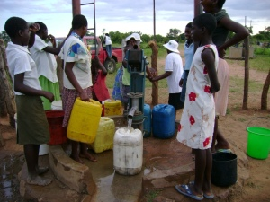 Residents of Bulawayo fetch water from a borehole