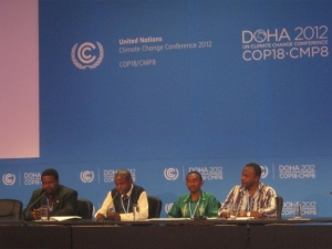 Members of the African Group of Negotiators on Climate Change holding a press conference in Doha. By Fredrick Mugira