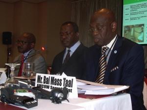 Mr. Bai Mass Raal (R) speaking during the meeting. By Fredrick Mugira