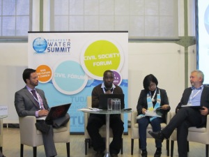 Fredrick Mugira, Coordinator of Water Journalists Africa Network speaks in the Civil Society Forum. On his left is Ella Antonio Ella Antonio, President of the Earth Council Asia-Pacific