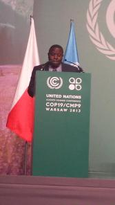 Zambia's Minister of Lands, Natural Resources and Environmental Protection Harry Kalaba addressing the Conference of Parties this morning at COP19/CMP9 in Warsaw. Picture by VIOLET MENGO.