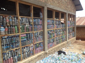 Part of the school library that was constructed using plastic bottles stuffed with plastic bags
