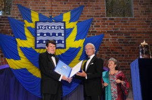 L-R, Professor John Briscoe receiving the award from H.M. King Carl XVI Gustaf of Sweden