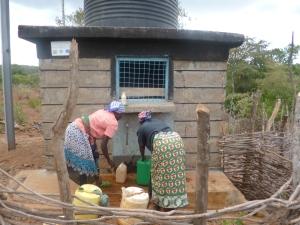 Women Fetch Water from the Kamurio Village Water Kiosk in Kenya