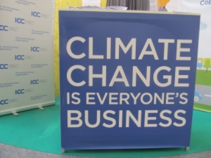 One of the placards at COP21 in Paris creating awareness about the need for everybody to get on board and fight climate change