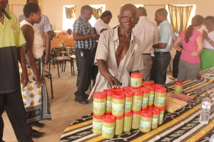Chiponda displays his Moringa products