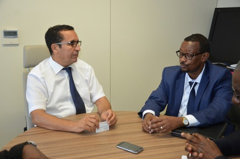 (L-R) Mohammed El Azizi, Director of the Water and Sanitation department of the AfDB and AMCOW Executive Secretary, Dr. Canisius Kanangire