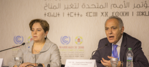 UNFCCC Executive Secretary Patricia Espinosa and COP22 President Salaheddine Mezouar addressing the opening press conference on November 6 in Bab Ighli before the official kick-off to the 22nd Conference of Parties (COP22).