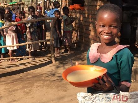 One of the porridge recipients at Mavuwa, Malawi.
